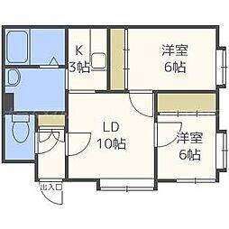 北海道札幌市東区北丘珠三条1丁目の賃貸アパートの間取り