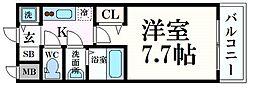 S-RESIDENCE三国WEST(エスレジデンス三国ウエス 2階1Kの間取り