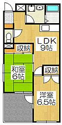京都府京都市山科区音羽沢町の賃貸マンションの間取り