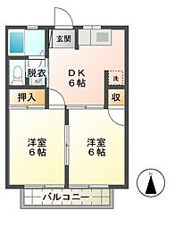栃木県宇都宮市上野町の賃貸アパートの間取り