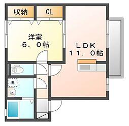 岡山県岡山市南区松浜町の賃貸アパートの間取り