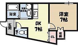 プルミエール野江 2階1DKの間取り