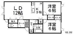 Urban Port SHIROYAMA 2階2LDKの間取り