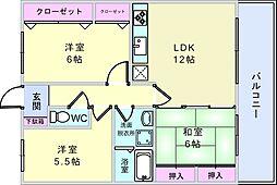 大阪府豊中市南桜塚3丁目の賃貸マンションの間取り