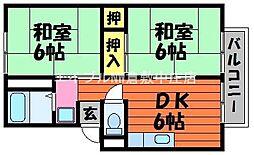 岡山県倉敷市西阿知町新田の賃貸アパートの間取り