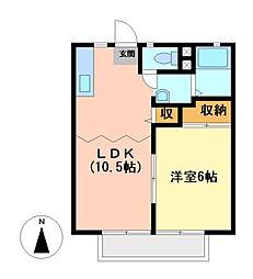栃木県宇都宮市御幸本町の賃貸アパートの間取り