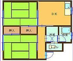 コーエイマンション第2 2階2DKの間取り