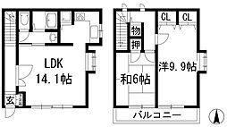 大阪府箕面市桜ケ丘5丁目の賃貸アパートの間取り