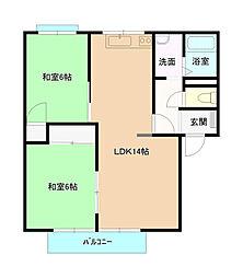岡山県岡山市南区浦安本町の賃貸アパートの間取り