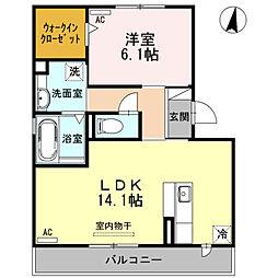 愛知県安城市三河安城町2丁目の賃貸アパートの間取り