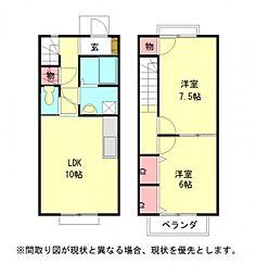 愛知県一宮市奥町字野方の賃貸アパートの間取り