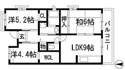 兵庫県宝塚市御殿山3丁目の賃貸マンションの間取り