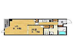 ラクレイス西新レジデンシャルタワー[808号室]の間取り