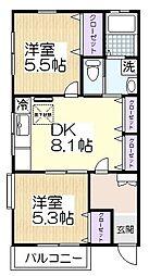 埼玉県草加市吉町2丁目の賃貸アパートの間取り