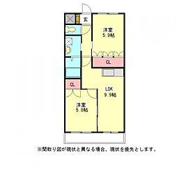 愛知県一宮市佐千原字屋敷の賃貸アパートの間取り