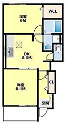 愛知県豊田市平戸橋町波岩の賃貸アパートの間取り