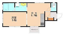 西鉄天神大牟田線 大橋駅 徒歩10分の賃貸マンション 3階1LDKの間取り