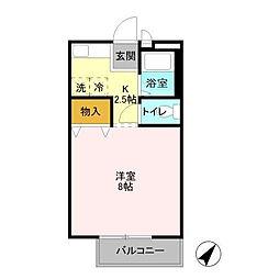 花畑ロイヤルパークG[2階]の間取り