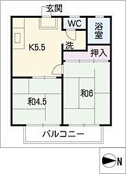 ハイツヤマザキ[2階]の間取り