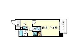 プレサンス新大阪 7階1Kの間取り