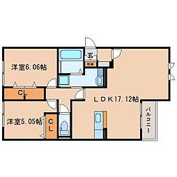 静岡県静岡市駿河区宮竹2丁目の賃貸アパートの間取り
