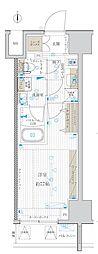東京メトロ日比谷線 北千住駅 徒歩15分の賃貸マンション 11階1Kの間取り