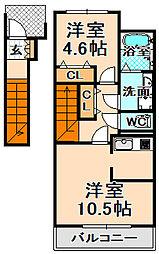 兵庫県伊丹市昆陽5丁目の賃貸アパートの間取り