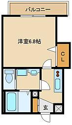 阪神本線 出屋敷駅 徒歩8分の賃貸マンション 4階1Kの間取り