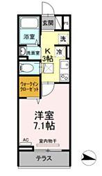 メゾン・ド・キャトルVII 1階1Kの間取り