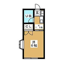 パペチェル横浜 1階1Kの間取り