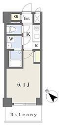 エスリードザ・ランドマーク神戸 7階1Kの間取り