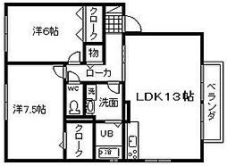大阪府岸和田市流木町の賃貸アパートの間取り