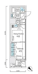 JR山手線 大崎駅 徒歩7分の賃貸マンション 6階1DKの間取り