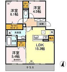 D-room別府 壱番館[1階]の間取り