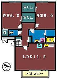 パークサイド西船 A棟[203号室]の間取り