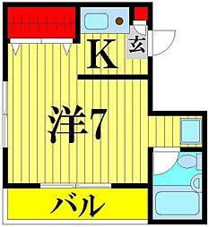 埼玉県越谷市蒲生4丁目の賃貸マンションの間取り