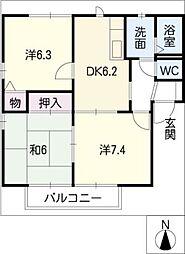 愛知県半田市板山町4丁目の賃貸アパートの間取り