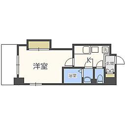 Osaka Metro四つ橋線 花園町駅 徒歩2分の賃貸マンション 5階1Kの間取り