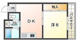 中西ハイツ3 2階1DKの間取り