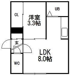 北海道札幌市白石区中央一条5丁目の賃貸アパートの間取り