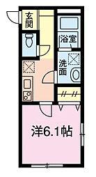 仮)グリシーヌ新田 1階1Kの間取り