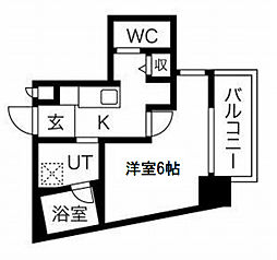 JR大阪環状線 西九条駅 徒歩3分の賃貸マンション 6階1Kの間取り