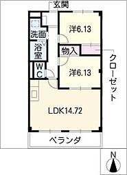 アパートメント キダ S棟[3階]の間取り