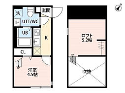 JR横浜線 矢部駅 徒歩4分の賃貸アパート 1階1Kの間取り