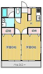 東京都品川区西中延1丁目の賃貸アパートの間取り