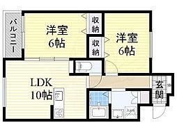 南海線 新今宮駅 徒歩8分の賃貸マンション 2階2LDKの間取り