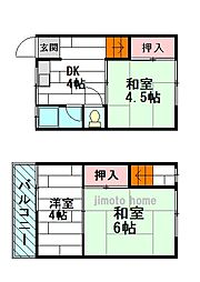 [テラスハウス] 大阪府豊中市栗ケ丘町 の賃貸【/】の間取り