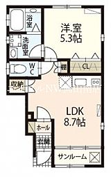 JR赤穂線 大多羅駅 徒歩18分の賃貸アパート 1階1LDKの間取り