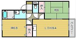 大阪府高槻市出丸町の賃貸アパートの間取り