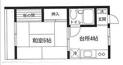 間門園アパート[208号室]の間取り